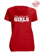 Diva Girls Run The World T-Shirt, Red - EMBROIDERED with Lifetime Guarantee
