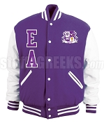 Elogeme Adolphi Varsity Letterman Jacket with Letters and Crest, Purple/White