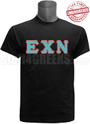 Epsilon Chi Nu Greek Letter T-Shirt, Black - EMBROIDERED with Lifetime Guarantee