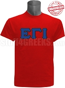 Epsilon Gamma Iota Greek Letter T-Shirt, Red - EMBROIDERED with Lifetime Guarantee