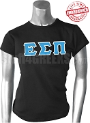 Epsilon Sigma Pi Greek Letter Fitting T-Shirt, Black - EMBROIDERED with Lifetime Guarantee