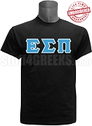 Epsilon Sigma Pi Greek Letter T-Shirt, Black - EMBROIDERED with Lifetime Guarantee