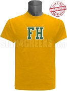 FarmHouse Varsity Letter T-Shirt, Gold - EMBROIDERED with Lifetime Guarantee