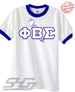 Phi Beta Sigma Axe, White Ringer Tee with Royal Blue Cuffs - EMBROIDERED with Lifetime Guarantee
