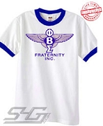 Phi Beta Sigma Bentley Logo, White Ringer Tee with Royal Blue Cuffs - EMBROIDERED with Lifetime Guarantee