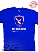 Phi Beta Sigma Ferrari-Style Logo, Royal Blue T-Shirt - EMBROIDERED with Lifetime Guarantee