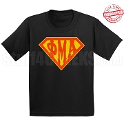 Phi Mu Alpha T-Shirt with Greek Letters Inside Superman Shield, Black - EMBROIDERED with Lifetime Guarantee
