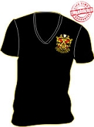 Phi Mu Alpha Crest V-Neck T-Shirt, Black - EMBROIDERED with Lifetime Guarantee
