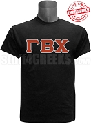 Gamma Beta Chi Greek Letter T-Shirt, Black - EMBROIDERED with Lifetime Guarantee