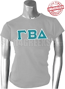 Gamma Beta Delta Ladies Greek Letter T-Shirt, Gray - EMBROIDERED with Lifetime Guarantee