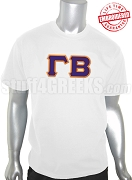 Gamma Beta Greek Letter T-Shirt, White - EMBROIDERED with Lifetime Guarantee