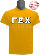 Gamma Epsilon Chi Greek Letter T-Shirt, Yellow Gold - EMBROIDERED with Lifetime Guarantee