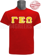 Gamma Epsilon Omega Greek Letter T-Shirt, Red - EMBROIDERED with Lifetime Guarantee