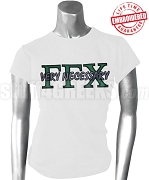 Gamma Gamma Chi Greek Letter T-Shirt with Very Necessary Thru, White - EMBROIDERED with Lifetime Guarantee