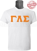 Gamma Lambda Sigma Greek Letter T-Shirt, White - EMBROIDERED with Lifetime Guarantee