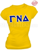 Gamma Nu Delta Greek Letter T-Shirt, Gold - EMBROIDERED with Lifetime Guarantee