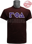 Gamma Phi Delta Greek Letter T-Shirt, Maroon - EMBROIDERED with Lifetime Guarantee