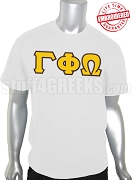 Gamma Phi Omega Fraternity Greek Letter T-Shirt, White - EMBROIDERED with Lifetime Guarantee