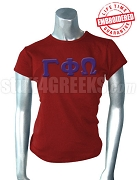 Gamma Phi Omega Sorority Greek Letter T-Shirt, Crimson - EMBROIDERED with Lifetime Guarantee