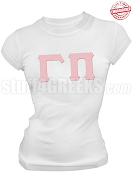 Gamma Pi Greek Letter T-Shirt, White - EMBROIDERED with Lifetime Guarantee