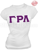 Gamma Rho Lambda Greek Letter T-Shirt, White - EMBROIDERED with Lifetime Guarantee