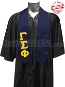 Gamma Sigma Phi Satin Graduation Stole with Greek Letters, Navy Blue