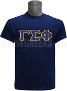 Gamma Sigma Phi Greek Letter Screen Printed T-Shirt, Navy Blue