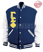 Gamma Sigma Phi Varsity Letterman Jacket with Greek Letters, Navy Blue/White