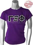 Gamma Xi Phi Ladies Greek Letter T-Shirt, Purple - EMBROIDERED with Lifetime Guarantee