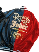 Harley Two-Toned Satin Baseball Jacket, Red/Blue - EMBROIDERED with Lifetime Guarantee