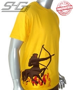Iota Centaur Through Flames Tee, Gold - EMBROIDERED with Lifetime Guarantee