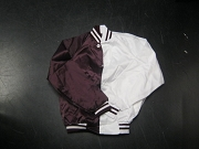 Burgundy/White Two-Tone Satin Baseball Jacket with Stripes, Size SMALL, Blank