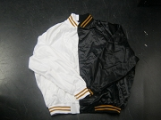 White/Black Two-Tone Satin Baseball Jacket with Stripes, Size 2XL/3XL, Blank