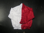 Clearance: White/Red Two-Tone Satin Baseball Jacket, Size XL, Blank