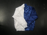 Clearance: White/Royal Blue Two-Tone Satin Baseball Jacket, Size MEDIUM, Blank
