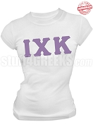 Iota Chi Kappa Greek Letter T-Shirt, White - EMBROIDERED with Lifetime Guarantee