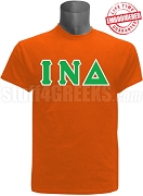 Iota Nu Delta Greek Letter T-Shirt, Orange - EMBROIDERED with Lifetime Guarantee