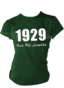 Iota Phi Lambda Screen Printed T-Shirt with Founding Year and Organization Name, Forest Green