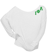 Iota Phi Lambda Long Sleeve Screen Printed Shoulder Shirt with Logo Style Greek Letters, White
