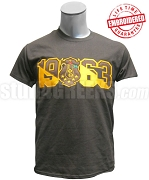 Iota Phi Theta T-Shirt with Crest and Founding Year, Brown -  EMBROIDERED with Lifetime Guarantee