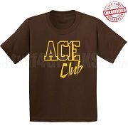 Ace Club T-Shirt, Brown/Gold - EMBROIDERED with Lifetime Guarantee