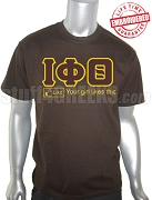Iota Phi Theta Greek Letter T-Shirt with FB Like Button, Brown - EMBROIDERED with Lifetime Guarantee