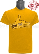 Iota Phi Theta T-Shirt with Ow-Ow Hand Sign, Gold - EMBROIDERED with Lifetime Guarantee