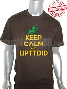 Iota Phi Theta Keep Calm T-Shirt, Brown - EMBROIDERED with Lifetime Guarantee