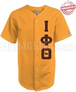 Iota Phi Theta Greek Letter Cloth Baseball Jersey, Gold (TW) - EMBROIDERED WITH LIFETIME GUARANTEE