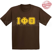 Iota Phi Theta Triple-Layered Letters T-Shirt, Brown - EMBROIDERED with Lifetime Guarantee