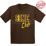 9/Nine Club T-Shirt, Brown/Gold - EMBROIDERED with Lifetime Guarantee