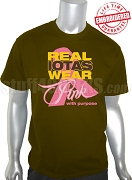 Iota Phi Theta Pink Ribbon Breast Cancer Awareness T-Shirt, Brown -EMBROIDERED with Lifetime Guarantee