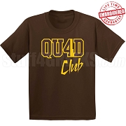 4/Quad Club T-Shirt, Brown/Gold - EMBROIDERED with Lifetime Guarantee