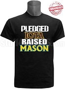 Iota Phi Theta Raised Mason T-Shirt, Black - EMBROIDERED with Lifetime Guarantee